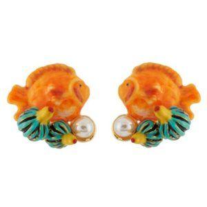 Les Nereides Orange Fish&Freshwater Pearl Earrin